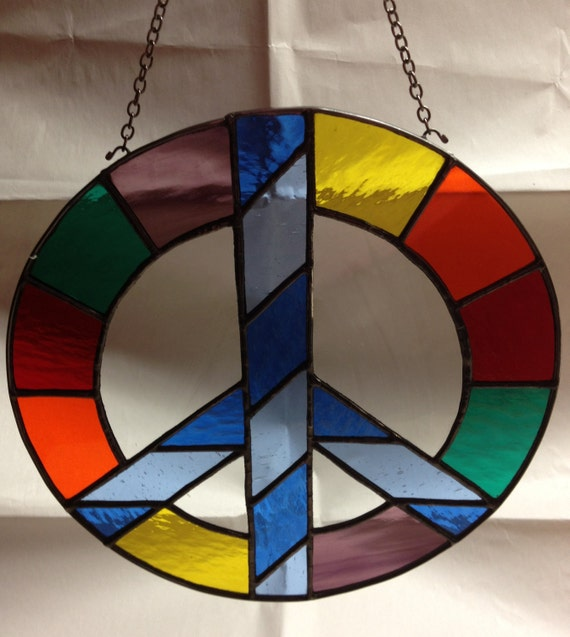 Stained Glass Peace Sign Colorful Suncatcher Panel