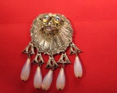Vintage Large Glass Brooch Pin