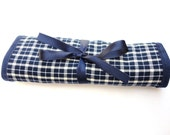 Jewelry travel roll organizer with transparent big and small organza pockets.Blue tartan fabric.