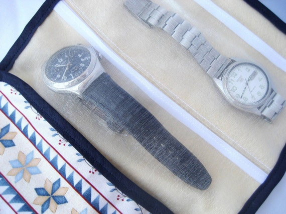 Men's watch holder with organza pockets Handmade Perfect for big men's watches but can be used for all big jewelry