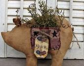 Primitive Americana Country Pig, Sweet Annie Pig Shelf Sitter, Patriotic Tag Pig Bowl Filler, Handmade Pigs, Primitive Home Decor, Country