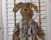Handmade Primitive Rabbit Doll, Folk Art Rabbit, Handmade Rabbit, Primitive Decor, Fishing, Fishing Rabbit