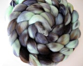 Tour de Fleece Free Shipping, Mint Green, Black, Brown, 'Mysterious Ways', 4 oz Merino Roving, Spinning Upgrade Available