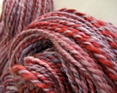 Pink, Silver and Red Hand-dyed Hand-spun Merino Silk Alpaca 2-ply Yarn, 218 yds., 'Lovebird', FREE shipping with 50 dollar purchase
