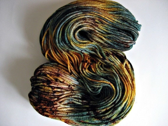 Two Skeins, 274 Yds, Blue, Gold, and Brown Merino Yarn, 'Captain Jack,' Hand-dyed Bulky Weight Yarn