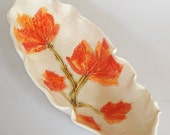 Autumn Leaves Serving Dish with fall foliage, hand painted maple leaf