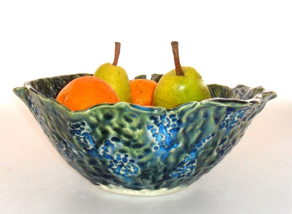 Ceramic Bowl, salad bowl, pasta bowl, fruit bowl Peacock palette, green blue bowl, emerald green, cobalt blue bowl, jewel tone bowl