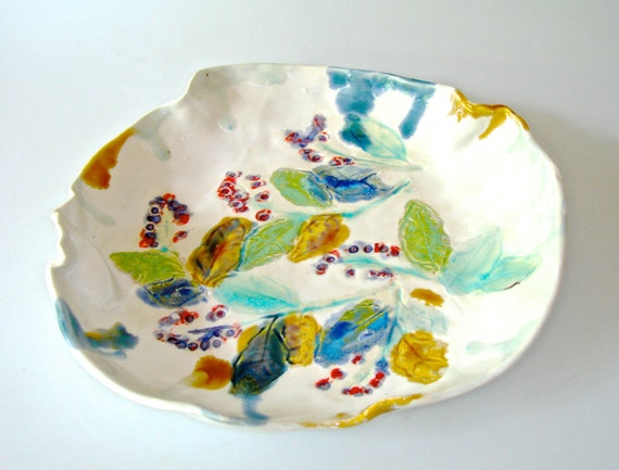RESERVED FOR KIM Ceramic Serving Dish with organic shape and leaf and berry design