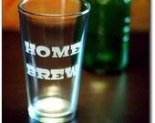 Home Brew Etched Beer Pint Glass