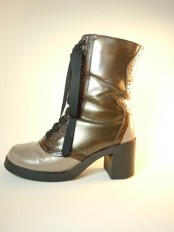 CLEARANCE: Amazing Neovictorian Steampunk Lace Up Granny Boots size 6.5