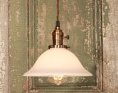 Handmade Lighting with Vintage Milk Glass with Soft Tapered Design and Exposed Socket