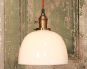 Kitchen Lighting with Vintage Milk Glass with Ripple Design Detail and Exposed Socket