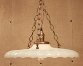 Lighting with Vintage Milk Glass - Xtra Large Depression Era Glass - Exposed Socket Design