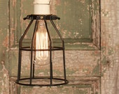 Industrial Light with Vintage Porcelain Socket and Black Cage hung by Reproduction Cotton Twist Wire