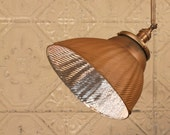 Pendant Lighting with Vintage Mercury Glass Shade in Warm Copper Gold and Custom Down Rod with Swivel