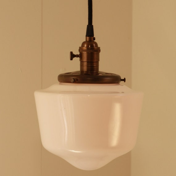 Hanging Light with White Glass Schoolhouse Style Shades