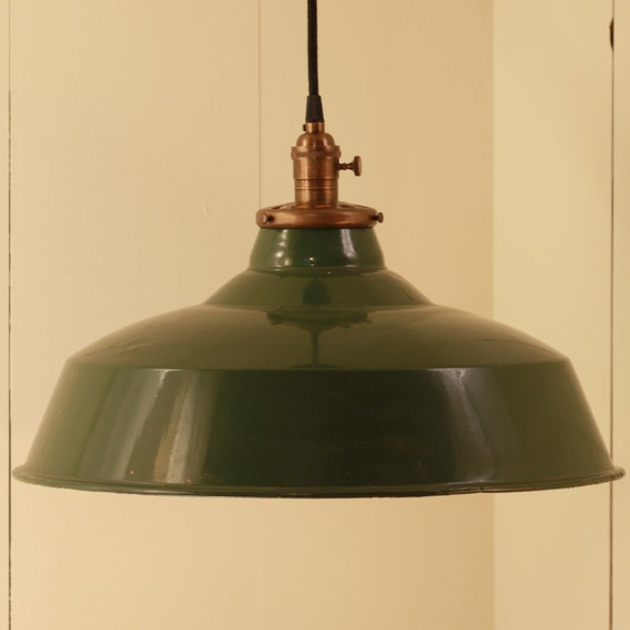 Hanging Light Fixture With Vintage Enamel Shade By