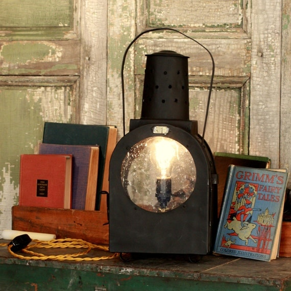 "Industrial Lantern Table Lamp made from a mid 1800's Industrial Lantern  ""Lantern A1"""