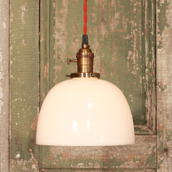 Kitchen Lighting With Vintage Milk Glass With Ripple Design