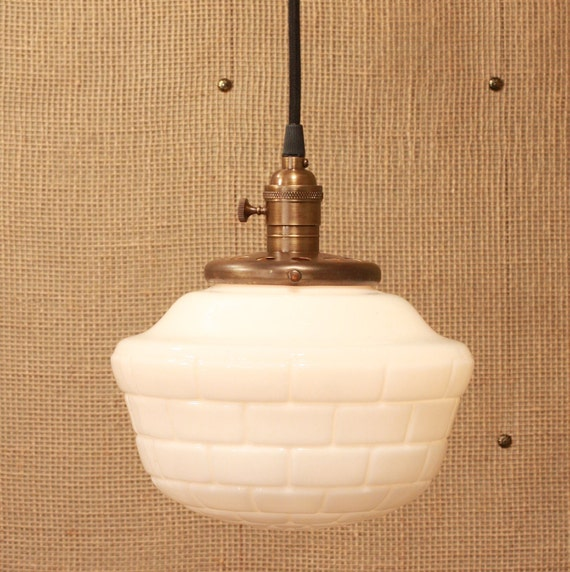 Hanging Lighting With Vintage Milk Glass Tiled Shade