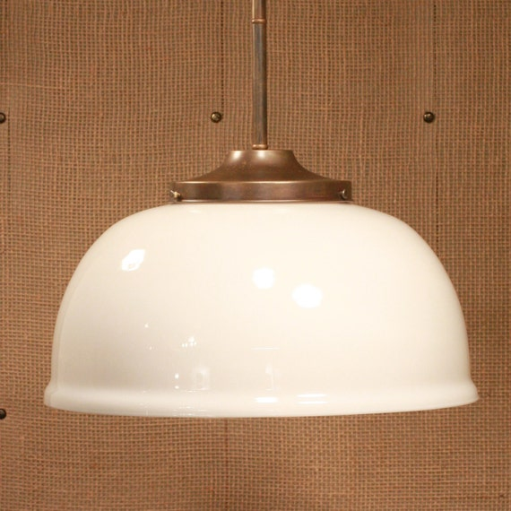 "Pendant Lighting with 1930's ""New Old Stock"" Large Ballroom White Glass Shade and Custom Finished Solid Brass Down Rod"