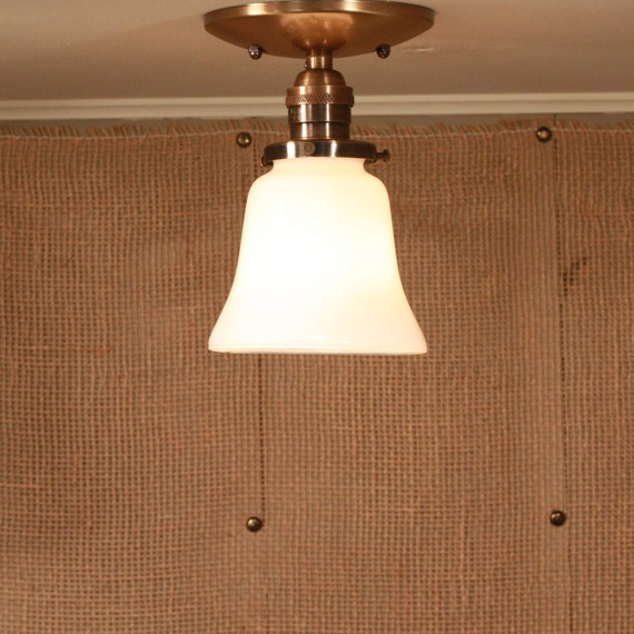 Ceiling Lighting with Bell Shaped Soft White Glass Shade - Semiflush lighting