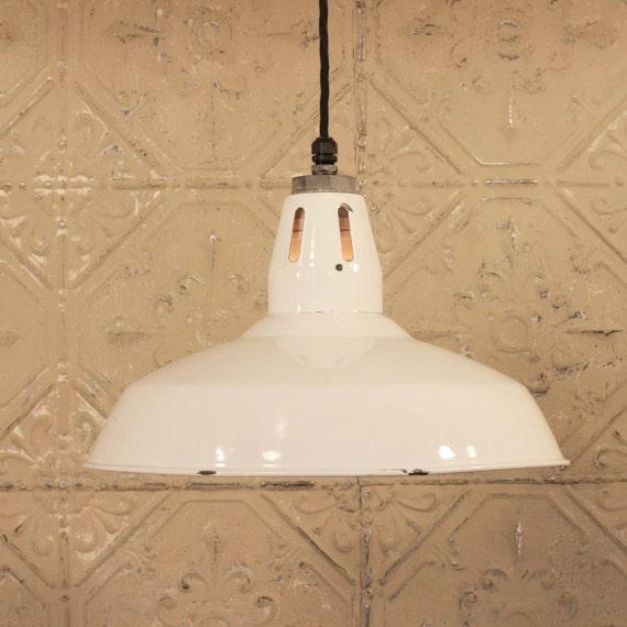 Lighting with Vintage White Enamel Shade