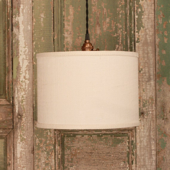 Burlap shade lighting with light burlap fabric by for Burlap lights