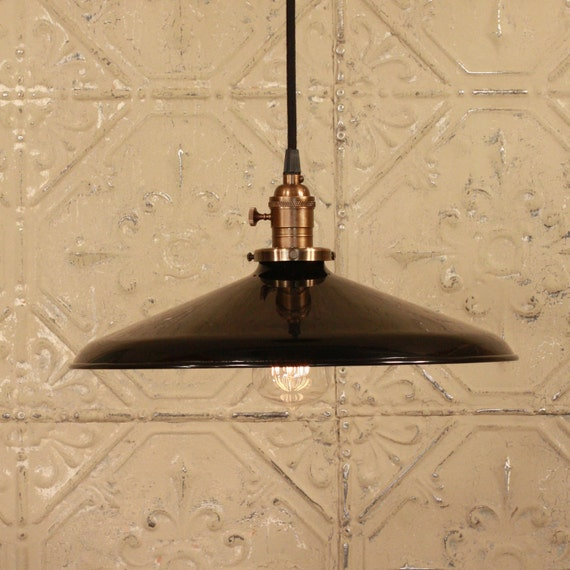 """Industrial Light With LARGE 14"""" Black Enamel Shade and Reproduction Wire"""