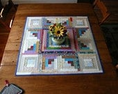 Country Star table quilt - log cabin table topper - hand quilted