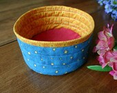 Starry Night quilted fabric basket