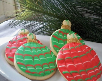 Ornament Sugar Cookies - Christmas cookies - Christmas cookie exchange - Christmas party - Christmas gift - christmas favors - holiday party