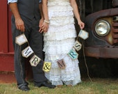"""burlap banner """"MR & MRS"""" with two hearts"""