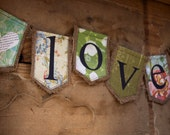 LOVE burlap banner with 2 hearts