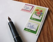 P.S. Write Soon: Set of unused vintage postage stamps with letter-writing theme