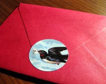 Letterbird sticker seals, set of 8