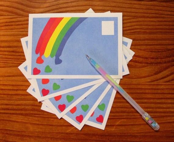 Vintage rainbow hearts postcards, set of 10 - LAST ONE