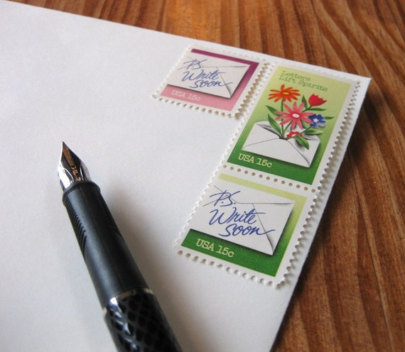 P.S. Write Soon: Set of 12 unused vintage postage stamps with letter-writing theme