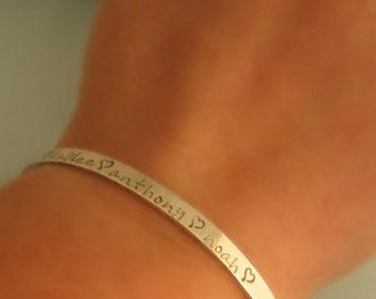 Personalized Bracelet - Cuff Bracelet - Mothers Bracelet - Cuff Bracelet with Chain and Clasp - Hand Stamped Sterling Silver Cuff Bracelet