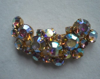 Vintage Large Iridescent Crystal Pin Brooch 1950s to 1960s Colorful Glass Gold Tone Pronged