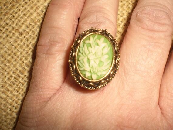 Vintage Adjustable Vanda Ring 1960s Asian Inspired