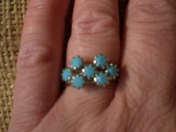 Vintage Turquois Colored Glass  Stacking Ring 1960s