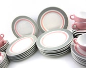 LARGE SET 1950s Vintage Shenango Rim Rol Wel Roc Retro Diner Restaurant China Dishes, Pink and Grey
