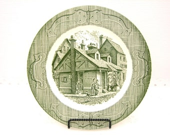 """Vintage 1950s """"The Old Curiosity Shop"""" Dinner Plate by Royal Green Transferware"""