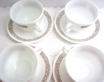 Vintage Corelle Livingware Dishes Woodland Brown Set of 4 Milk Glass Cups and Saucers