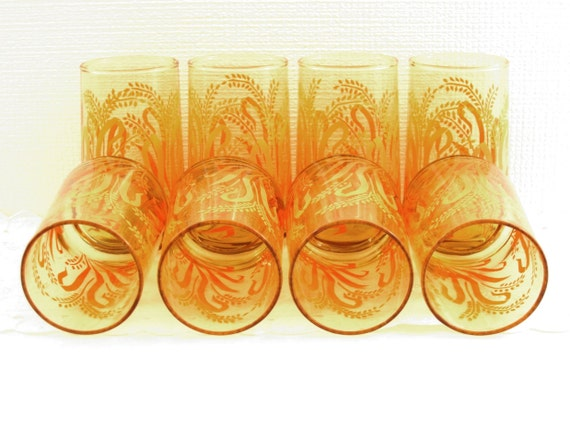 Vintage Set of Eight Amber Drinking Glasses Tumblers with Wheat Design in Peach and Orange