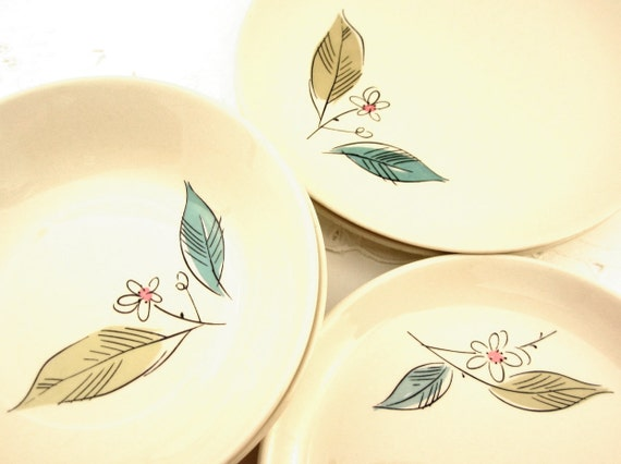 1950s Midcentury Modern Salem Ceramic Dishes in Biscayne Pattern, Ivory Backgound with Pink, Yellow Orche, and Turquoise Aqua