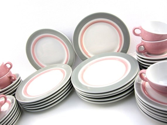 LARGE SET 1950s Vintage Shenango Rim Rol Wel Roc Retro Diner Restaurant China Dishes, Pink and Grey