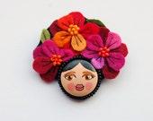 Felt flower girl brooch