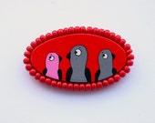 Red Brooch with hand painted birds